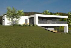 Architekt Hausbau die bestehende hangsituation wurde mittels zweier baukörper