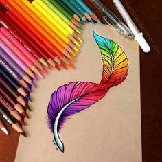 Rainbow feather drawing with colored pencils. By Daniieliita Silva. Amazing Drawings, Beautiful Drawings, Colorful Drawings, Cool Drawings, Amazing Art, Horse Drawings, Drawing Faces, Awesome, Feather Drawing
