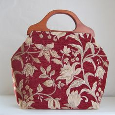 Burgundy Saxon Floral Chenille Large Craft Project Tote/ Knitting Tote Bag - READY TO SHIP by tanneicasey on Etsy https://www.etsy.com/listing/212354279/burgundy-saxon-floral-chenille-large