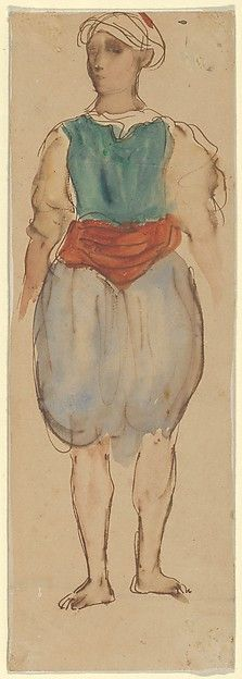 Young Moroccan, Standing Artist: Eugène Delacroix (French, Charenton-Saint-Maurice 1798–1863 Paris) Date: 1832 Medium: Pen and brown ink and watercolor on wove paper (mounted on card)