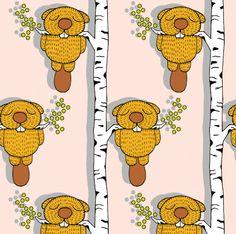 fummelhummelige Biber-Schlafplätze auf stoffn.de fummelhummel Sandra Thissen Stoffdesign Kinder rosa braun Wald Tiere fabric Kinderstoffe Textildesign Mädchen Stoff Biber Jungen weiß Bäume Natur retro diy nähen Illustration http://www.stoffn.de/muster/motiv/81788.html stoffn