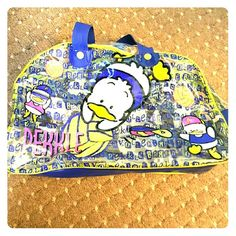 """Vintage Ahiru no """"Pekkle"""" Sanrio bag Vintage 90's Sanrio """"PEKKLE"""" shoulder bag. See through, beach volleyball design.  It has pen marks inside and some light color fade on the outside.  However, since I know this is a rare bag (&Sanrio character) that is why I priced this item high or OBO. Sanrio Bags Totes"""