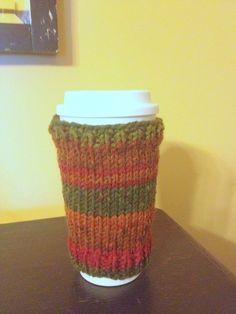 Hand knit Travel Coffee Cozy (plain). $10. Shop at www.etsy.com/Simple66Stuff. We love custom orders!
