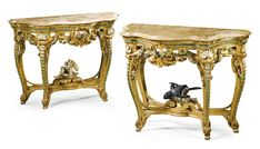 A pair of polychrome painted and carved giltwood console tables probably Franco-German, part third quarter 18th century and later each of serpentine form, with an associated moulded alabastro fiorito top above a pierced frieze centred by a c-scroll cartouche issuing flowers and leaves on scrolled cabriole legs carved with husks joined by an x-form stretcher centred by billing doves on leaf carved scrolled feet; redecorated