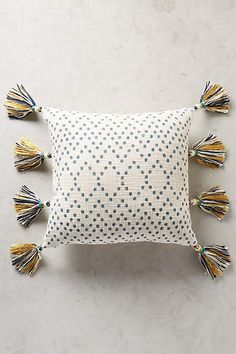 Tasseled Pointilliste Pillow - anthropologie.com