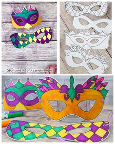Design Your Own Mardi Gras Masks - The Kitchen Table Classroom - Four free printable Mardi Gras masks are ready to print, color, and wear! Four free prin - Diy Carnival, Mardi Gras Decorations, Carnival Dress, Carnival Food, Carnival Rides, Mardi Gras Activities, Diy For Kids, Crafts For Kids, Mardi Gras Centerpieces