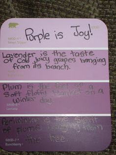 Paint chip Poetry.... again, I love this idea. It's free to get paint chips from Home Depot, and the colors will help the students to visualize their poetry coming to life.
