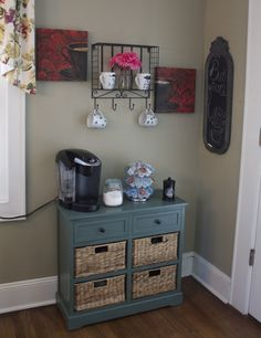 Coffee station. Would work in every room for whatever you needs are. Lingerie cabinet maybe?
