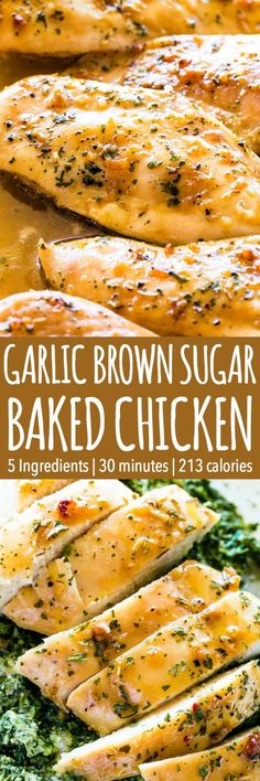 Garlic Brown Sugar Baked Chicken – Juicy, beyond DELICIOUS oven baked chicken breasts full of flavor with just a handful of ingredients and on the table in 30 minutes! #chicken #chickenrecipes #chickenbreastrecipes #dinner #dinnerrecipes #garlic #food #mealprep #30minutemeal #delicious