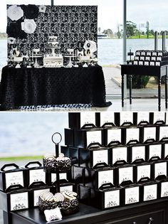 Wedding Table Black And White Bridal Shower Ideas Engagement Party Desserts, Engagement Party Decorations, Bridal Shower Decorations, White Dessert Tables, White Desserts, Black White Parties, Black And White Theme, White Bridal Shower, Bridal Showers