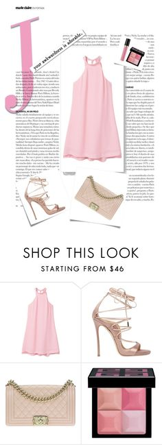 """Beautiful dress in pink"" by citlalisanchezd ❤ liked on Polyvore featuring Post-It, MANGO, Dsquared2, Chanel, Givenchy, Revlon, White Label, Pink, dress and date"