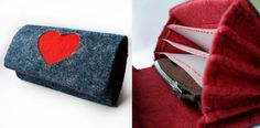 blue felt wallet with red heart raspberi