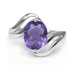 10x8mm Natural Purple Amethyst Ring in 925 Silver #MultaJewelry #SolitairewithAccents