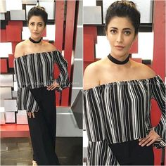 Shruti Hassan Black and White Striped off Shoulder Tops