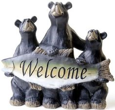 "Amazon.com: Custom & Unique {11.5"" Inch} 1 Single Large, Home & Garden ""Standing"" Figurine Decoration Made of Resin w/ Sweet Rustic Outdoorsy Bear Family & Welcome Fish Style {Black, Tan & Green Color}: Home & Kitchen"