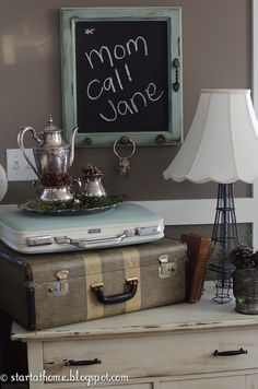 When we were remodeling I managed to save a few old cupboard doors. I didn't know exactly what I wanted to do with them so they sat in my garage for a while! Then it spoke to me, It wanted to be a chalkboard with fun vintage knobs on it! I can handle that. I love how it turned out! I painted the frame with Annie Sloan's Duck Egg Blue Chalk paint and then added a dark wax. The black is chalk board paint I purchased from Lowes. The hardware I have just been collecting over time, and…