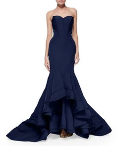 Strapless Seamed Mermaid Gown by Zac Posen at Bergdorf Goodman. - Why can't this be white, or blush or something?!!! This is the exact wedding dress I want! Argh!!!!!