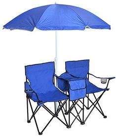 TMS Double Chair w Umbrella Portable Folding Table Cooler Pinic C&ing Beach Chair Blue * Learn  sc 1 st  Pinterest & A beach chair with an attached canopy means you arenu0027t limited to ...