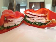 Cut out bread and use a fresh, delicious bell pepper instead for sandwiches. Clever. Vegetables rule.