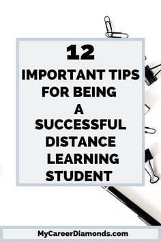 Distance Learning Student: Want to excel as a distance learning student. Here are 12 important tips and techniques to improve your study techniques as well as remain positive as an independent learner. Distance Learning Tips| Distance Learning Education |Distance Learning Student #mycareerdiamonds #distancelearningtips #learning #onlinelearning #onlineschools #college hacks #collegetips