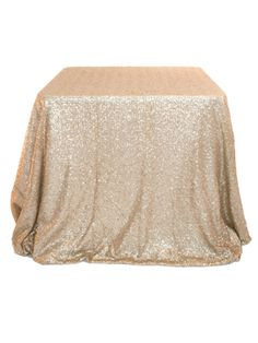 Sequin tablecloth sized to go to the floor for a 48 in. table, or pool on the floor with a 36 inch table, can otherwise be used as an overlay. Make sure to have white tablecloth for an underlay as …