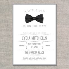 baby shower invitations: black tie - front - change from shower invite to birthday