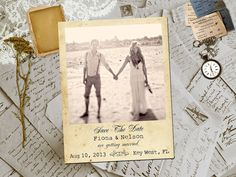 """50 Wedding Save The Date Magnets - KeyWest Vintage Photo Personalized 4.25""""x5.5"""" on Etsy, $69.00"""