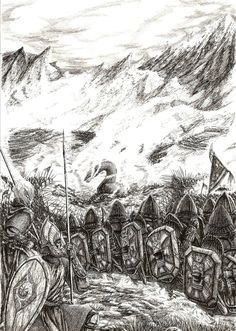 "The Battle of Unnumbered Tears by ~Tulikoura on deviantart    ""The Dwarves of Belegost helped them as their forces formed a rearguard, holding off Glaurung and allowing the Elven Lords to escape. Glaurung was vulnerable to the Dwarves' axes, while the Dwarves themselves wore fire-resistant iron masks and were naturally able to resist fire better than Elves or Men."""