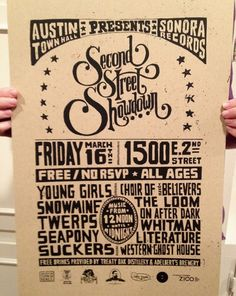 Second Street Showdown Poster Glass Signage, After Dark, Distillery, Rsvp, Screen Printing, Typography, Posters, Graphic Design, Type