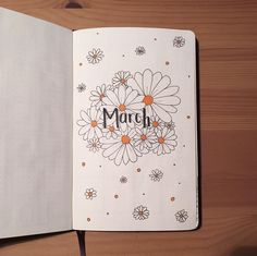 Bullet journal monthly cover page, March cover page, Daisy drawings. | @student.bujo.details