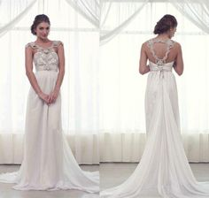 Wholesale Hot Cheap Formal Wedding Gowns Long Train Cap Sleeve Backless 2014 Ball Dress Sexy Anna Campbell Crystal Bridal Dresses Beaded Bling Chiffon, Free shipping, $144.14/Piece | DHgate Mobile
