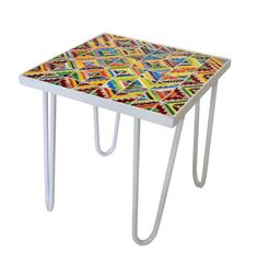 Coffee table 50 white lacquered metal & ceramic Theme MOSAIQUES. Rock the Kasbah. Philippe Xerri. www.lislabels.nl
