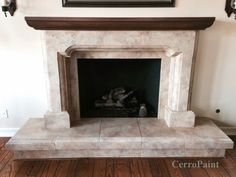 Floral Fireplace Surround Cast Stone Black Stone Top