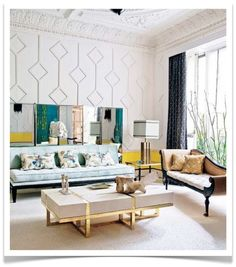 living room: soothing mint green, energizing lemon yellow, hits of swish gold, white tames elaborately detailed walls, and bits of black to ground it all. sigh.