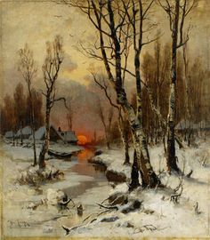 Julius Von Klever Sunset in the forest in winter - Art Painting Watercolor Landscape, Landscape Art, Landscape Paintings, Watercolor Art, Winter Painting, Winter Art, Russian Landscape, Autumn Scenes, Winter Scenery