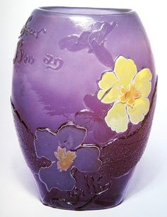 Emile Gallé, Nancy, (1846-1904), Blown, Internal Inclusions, Marquetry Inlays and Etched Glass Vase.