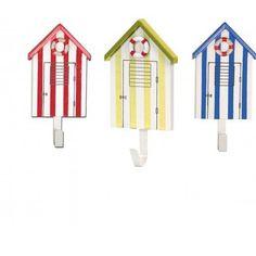 stripy beach huts coat hooks hangers 3 assorted 16cm nautical themed decor 43121