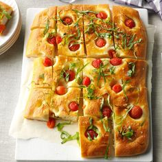 Cherry Tomato & Basil Focaccia Recipe -When I had 80 pounds of tomatoes, I got creative incorporating them into meals. Sometimes I slice this loaf into squares to make sandwiches with fresh mozzarella cheese and deli meats. Focaccia Recipe, Babka Recipe, Bread Recipes, Cooking Recipes, Italian Christmas, Tomato Basil, Cherry Tomatoes, Italian Recipes, Italian Foods