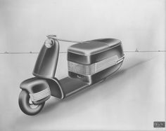 Globester Scooter - BSA / Milwaukee Art Museum / Pencil and Airbrush Conceptual Rendering