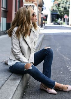 ripped skinny jeans with frayed hems, blush lace-up pointed toe flats, nude leather jacket, ivory blouse, navy bandana | Everything I'm wearing on sale right now! Click for all the deets!