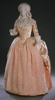 Peach silk satin robe a l'anglaise (front), American, 1780s.