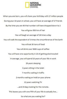 life statistics...what are you waiting for?