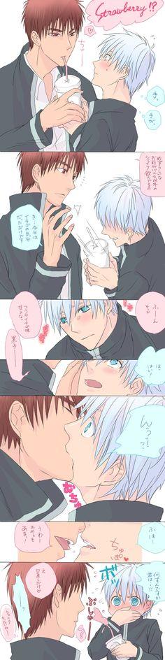 Tags: Anime, Drinks, Kuroko no Basket, Kuroko Tetsuya, Kagami Taiga, Kiss On The Lips, School Uniform (Seirin High)