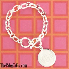 Monogrammed Charm Bracelet - Silver Plated from the Palm Gifts - Unique Monogrammed Gifts for Every Occasion