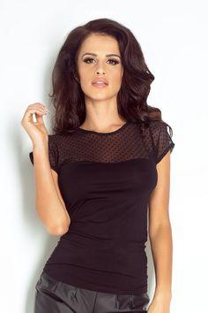 Seksowna czarna bluzka z prześwitującą siateczką Black Blouse, Carnival, High Neck Dress, Turtle Neck, Sweaters, Inspiration, Dresses, Women, Blouses