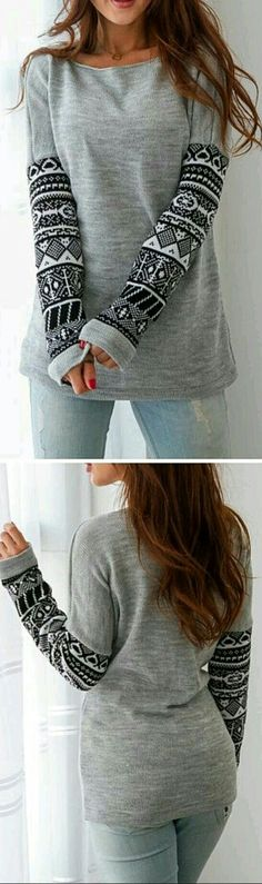 Grey long sleeve top...designed
