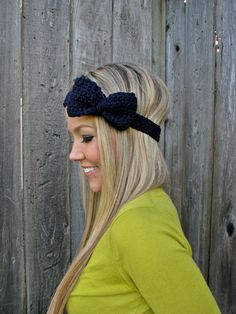 Navy Blue Bow Headband with Natural Vegan Coconut Shell Buttons ~ Adjustable