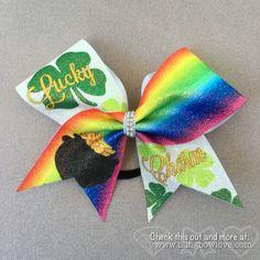Lucky Charm Bow, Glitter Bow, Cheer Bow