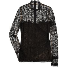 Oscar de la Renta Cotton-lace blouse (570 CAD) ❤ liked on Polyvore featuring tops, blouses, shirts, oscar de la renta, black, lace sleeve shirt, lace blouse, black lace top, black shirt and shirts & blouses