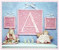 Nursery Decor Letters by Marie Ricci. Shown in distressed pink. www.mariericci.com